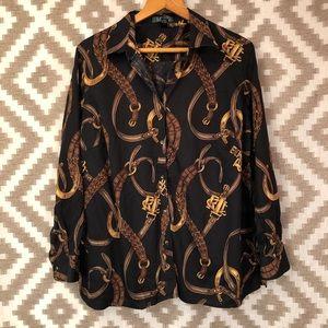 Lauren Ralph Lauren Belt Equestrian Printed Shirt